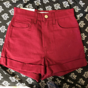 American Apparel High Waist Cuff Shorts - Hibiscus